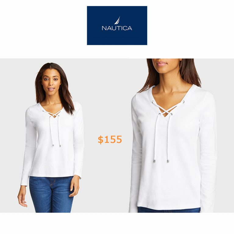 155Long Sleeve Lace-Up V-Neck Top