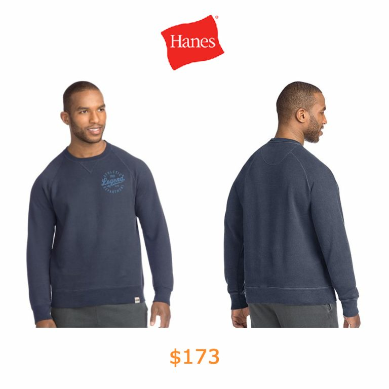 173Hanes Men's 1901 Heritage Graphic Fleece V-notch Crewneck Sweatshirt