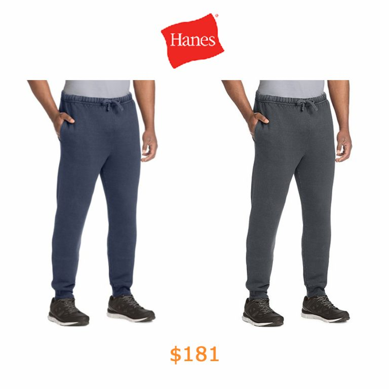 181Hanes Men's 1901 Heritage Fleece Jogger Pants with Pockets