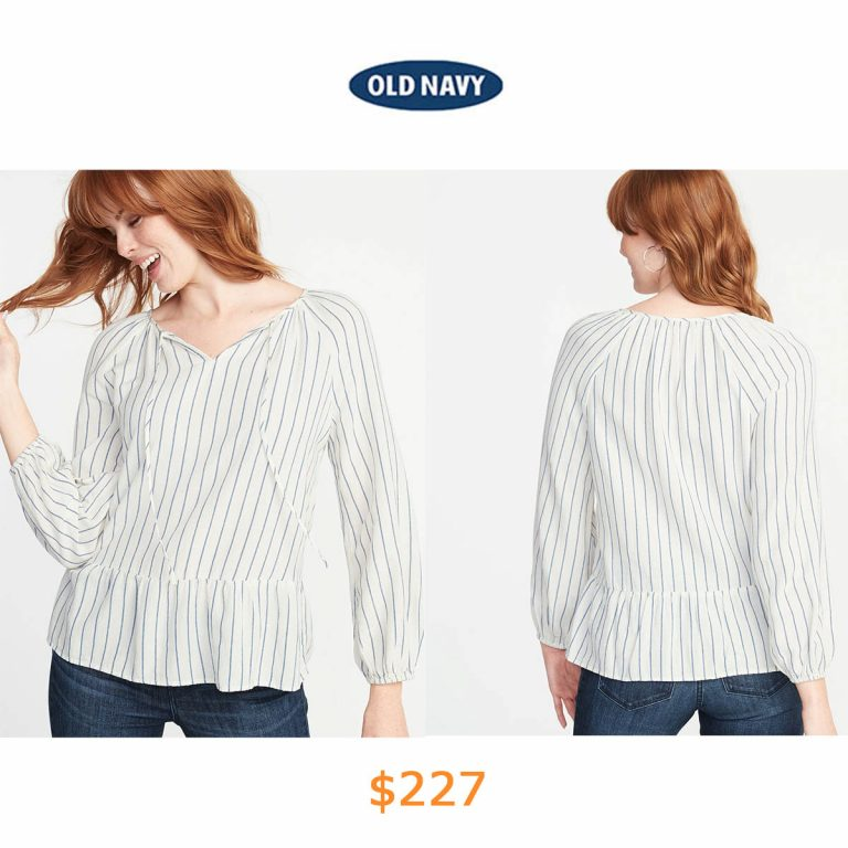 227Striped Crepe Peplum-Hem Swing Blouse