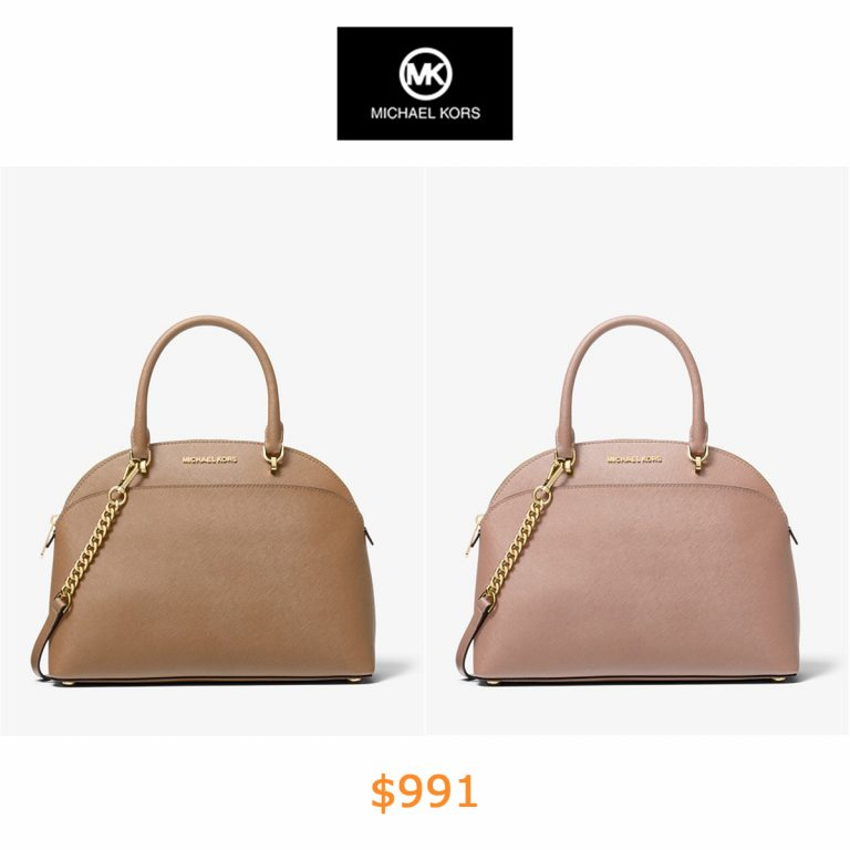 991Emmy Large Saffiano Leather Dome Satchel