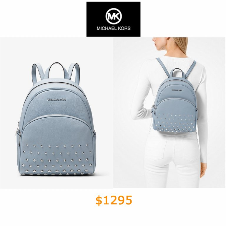 1295Abbey Medium Studded Pebbled Leather Backpack