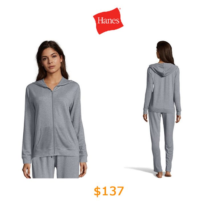 137Hanes Women's Heathered French Terry Zip Hoodie