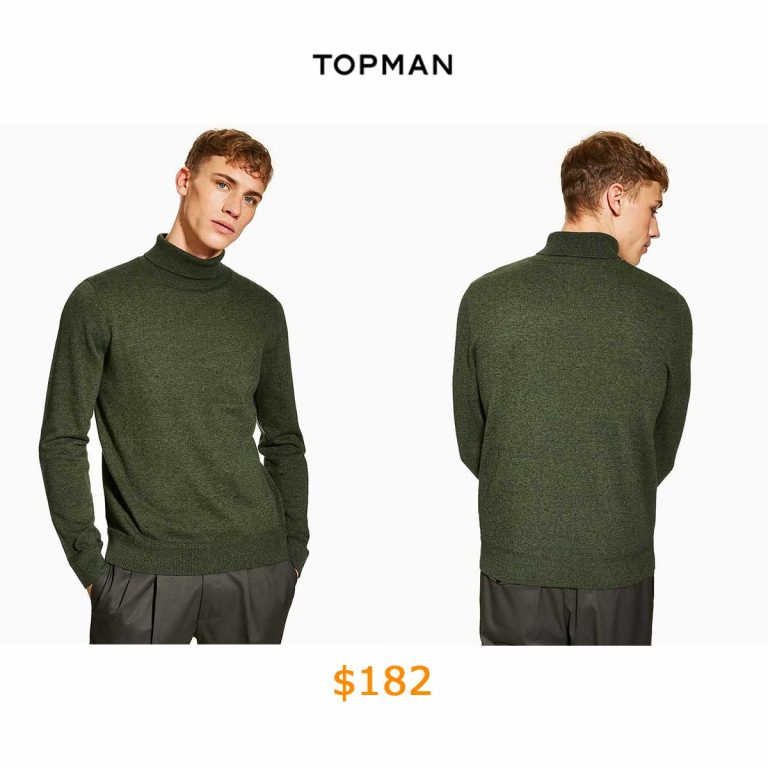 182Dark Green Roll Neck Jumper
