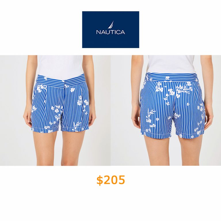 205Striped + Floral Pleated Shorts - 5- Inseam