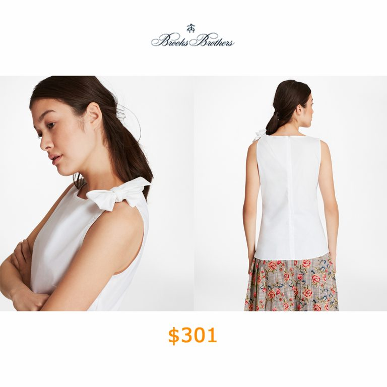 301Stretch Cotton Bow-Detail Top