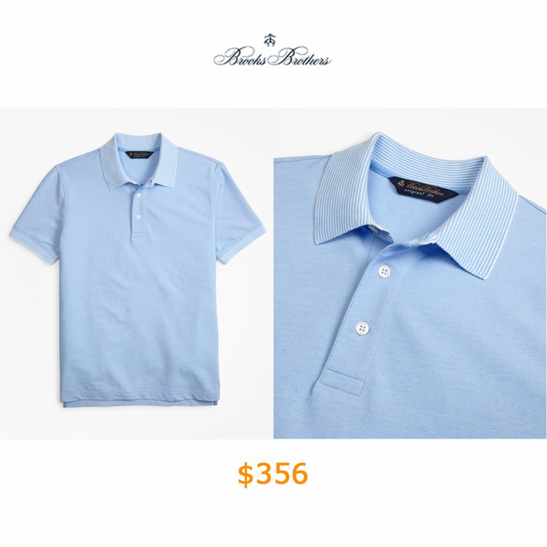 356Original Fit Cotton and Linen Stripe Collar Polo Shirt