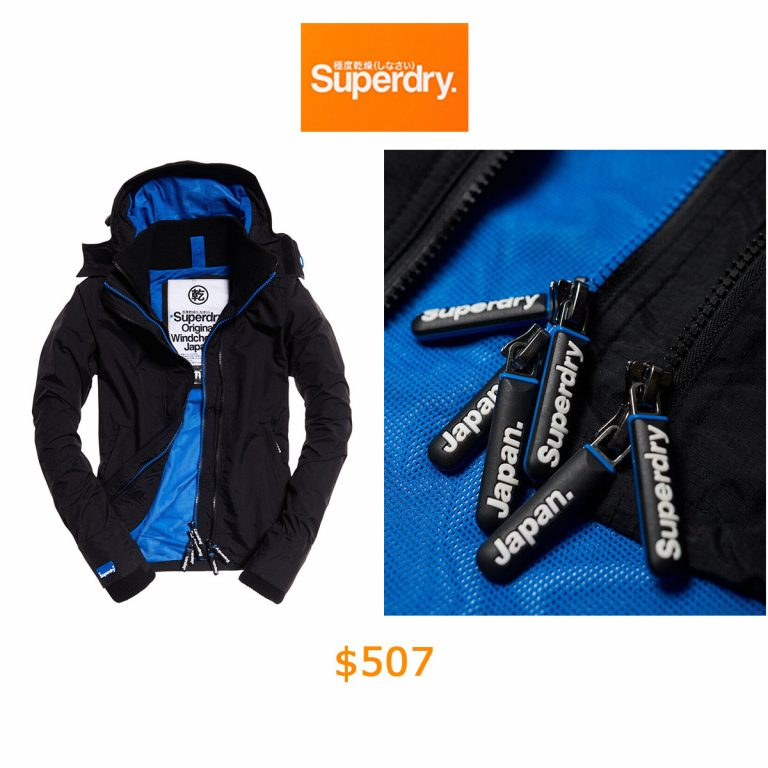 507Womens Superdry Technical Hooded Pop Zip SD-Windcheater Black