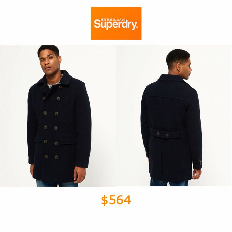 564Mens Superdry Remastered Bridge Coat Super Dark Navy